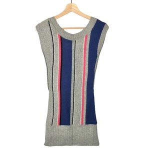Guess Y2K Gray Colorful Stripe Short Sleeve Sweater Dress S